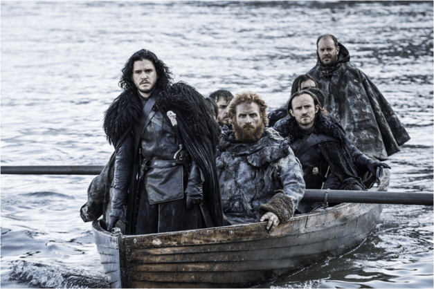 Game of Thrones Jon Snow leading a boat-load of men across water