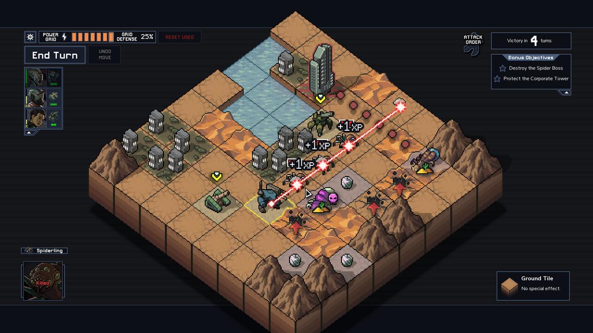 Into the Breach Vek laser quadruple kill