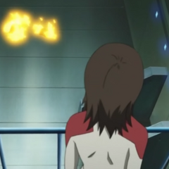 Mai defends the Saturn Ring from Amagiri and Brita.