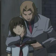 Kenneth holds Mai hostage.