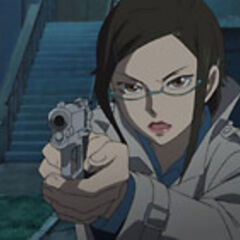 Misaki points her gun at Oreille.