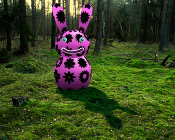The pink rabbit in the forrest