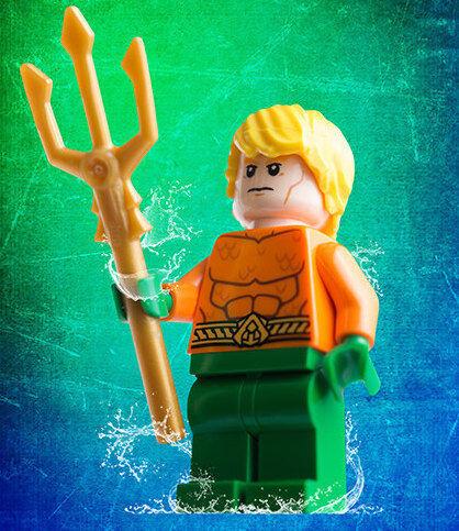 Lego Aquaman, posing with his trident.