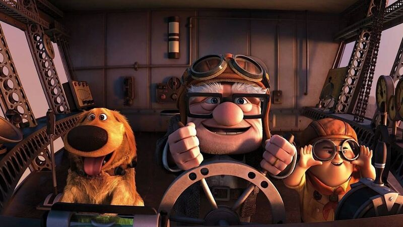 Dug, Carl and Russell in Pixar's Up