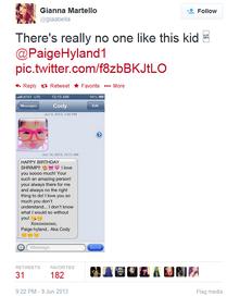 Paige to Gianna on birthday