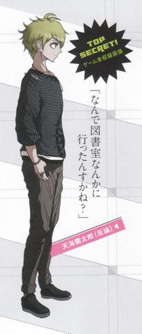 File:Art Book Scan Danganronpa V3 Top Secret Rantaro Amami Unused Scrum Debate Sprite.png