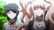 Despair Arc Episode 5 - Mukuro and Junko standing outside of Hope's Peak Academy