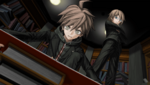 Danganronpa 1 CG - Makoto Naegi and Byakuya Togami reading about Fenrir