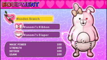 Danganronpa 2 Magical Monomi Minigame Equipment Menu