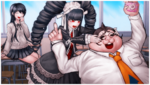 Danganronpa 1 CG - Class Photo of Celestia, Hifumi, and Sayaka