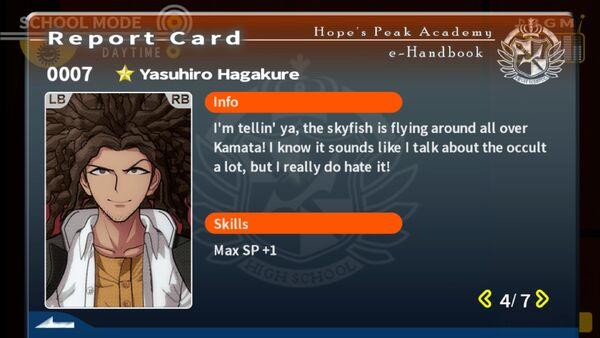 Yasuhiro Hagakure Report Card Page 4