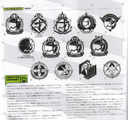 Art Book Scan Danganronpa V3 Trial and Various Material Prison School for the Gifted Logo Draft Designs Page