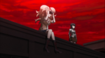 Despair Arc Episode 11 - Junko watching the Tragedy unfold from afar