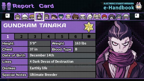 Gundham Tanaka's Report Card Page 1