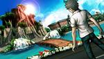 Danganronpa 2 CG - Hajime Hinata looking at the 1st island