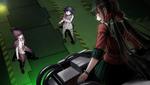 Danganronpa V3 CG - Maki Harukawa confronting Kokichi Oma and Kaito Momota in the warehouse
