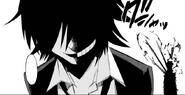 Danganronpa Gaiden KK Takumi smiling like Monokuma Chapter 3