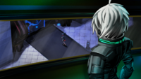 Danganronpa V3 CG - K1-B0 spotting Himiko Yumeno walking into the Hanger