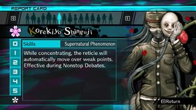 Korekiyo Shinguji Report Card Skill (For Shuichi)
