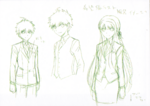 Danganronpa 3 - Character Profiles - Makoto Naegi and Kyoko Kirigiri (Sketches)