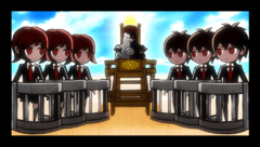 Danganronpa 2 CG - Monokuma explaining the Class Trial
