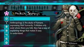 Korekiyo Shinguji Report Card Page 1 (For Shuichi)