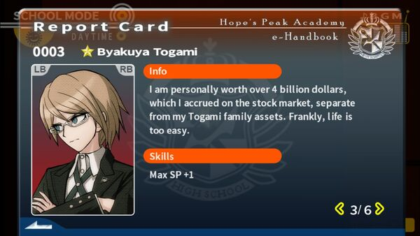 Byakuya Togami Report Card Page 3