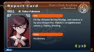 Toko Fukawa Report Card Page 2