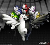 Digital MonoMono Machine Angel Monokuma with the Monokubs Monokumarz Android wallpaper