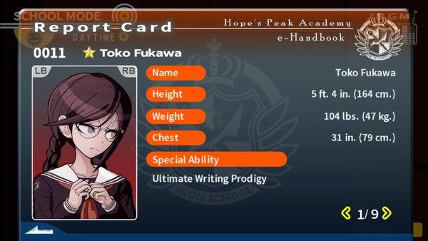 Toko Fukawa Report Card Page 1