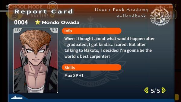 Mondo Owada Report Card Page 5