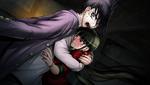 Danganronpa V3 CG - Kaito Momota grabbing onto Maki Harukawa