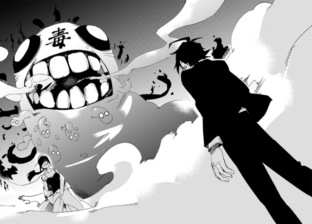 File:Danganronpa Killer Killer Chapter 2 Rei Shimizu's Parasite Attacking Takumi Hijrihara.png