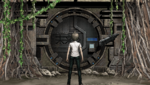 Danganronpa 2 CG - Hajime Hinata in front of the ruins