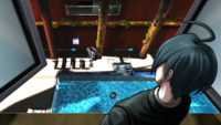 Danganronpa V3 CG - Shuichi Saihara investigating the pool