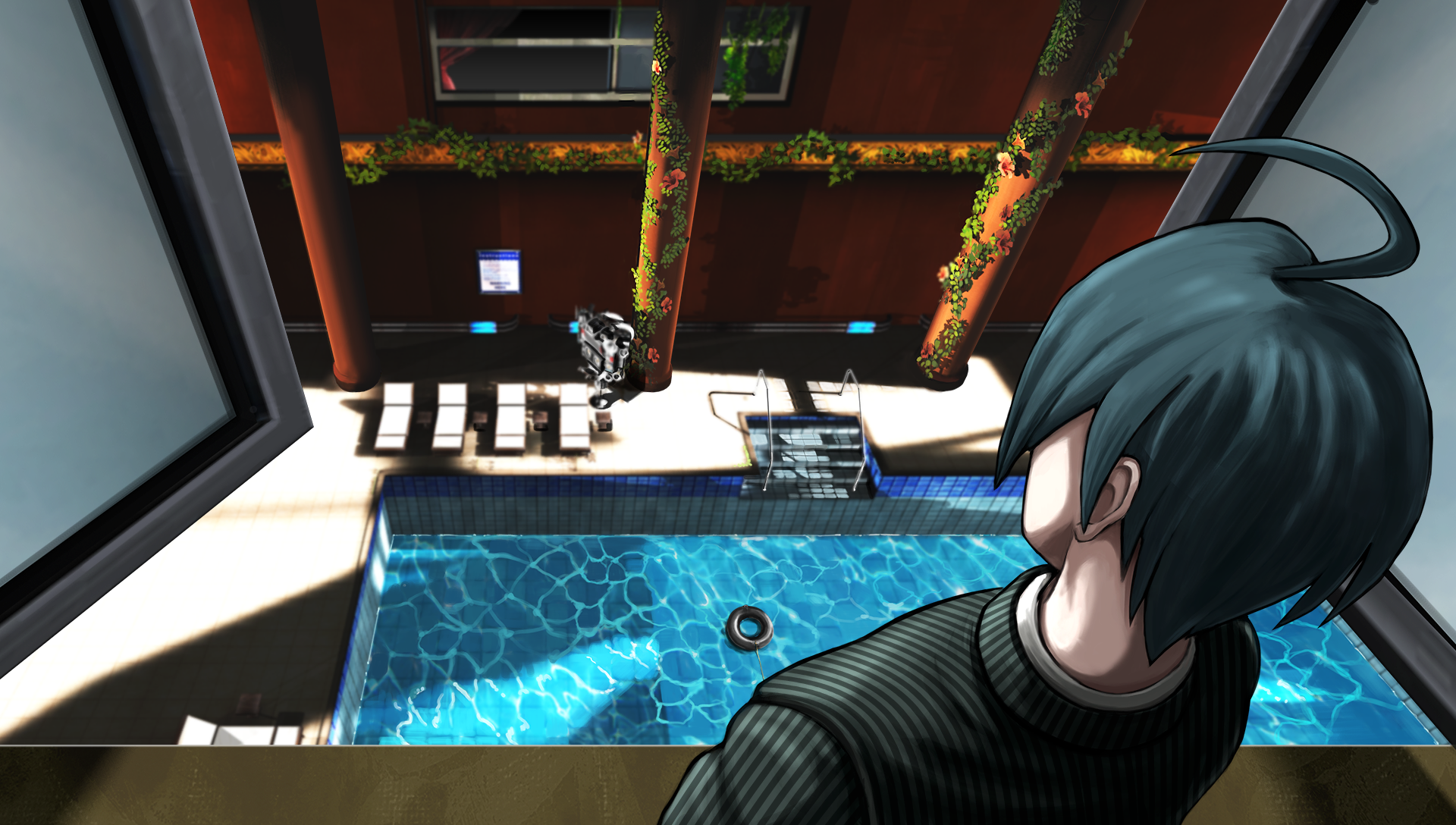 Image - Danganronpa V3 CG - Shuichi Saihara investigating the pool ...