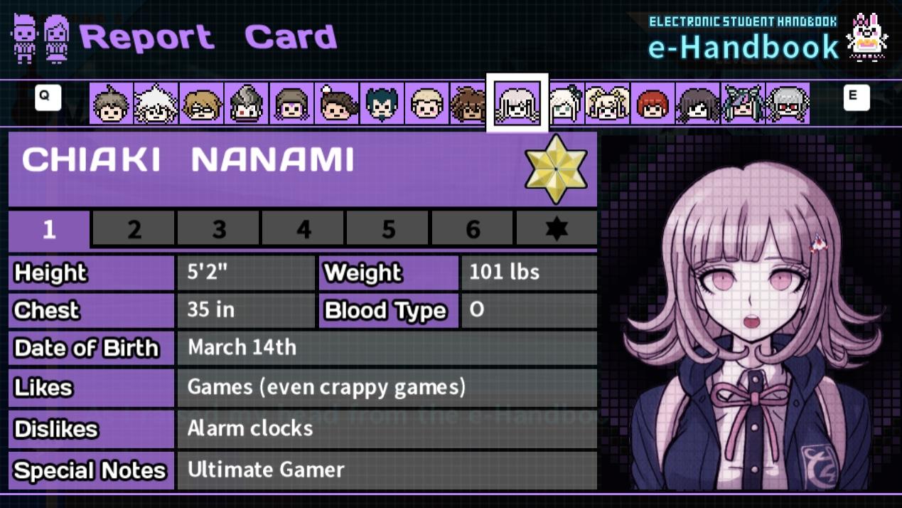 danganronpa 2 report card  Free Time Events/Chiaki Nanami | Danganronpa Wiki | Fandom