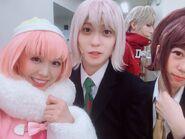 Danganronpa 3 THE STAGE Anna Ishida, Tsubasa Kizu, Keisuke Kaminaga, and Tsumugi Kudo in costume as Ruruka Ando, Ryota Mitarai, Sonosuke Izayoi, and Aoi Asahina