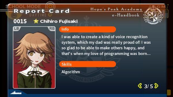 Chihiro Fujisaki Report Card Page 3