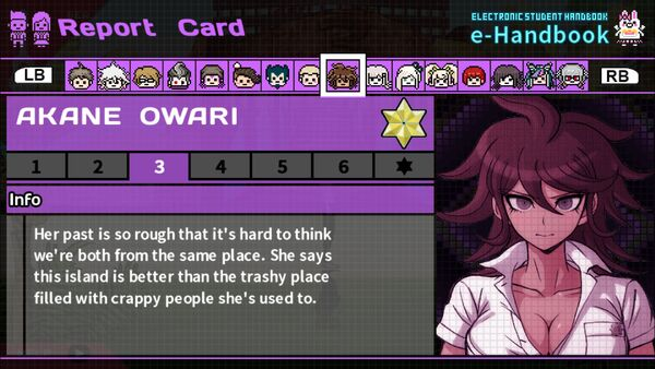 Akane Owari Report Card Page 3