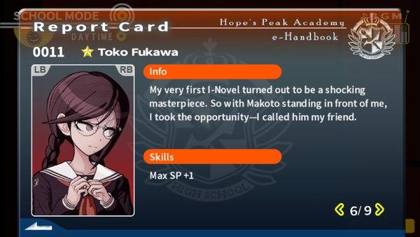 Toko Fukawa Report Card Page 6