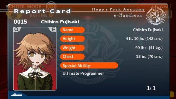 Chihiro Fujisaki Report Card