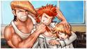 Danganronpa 1 CG - Class Photo of Mondo, Leon, and Chihiro