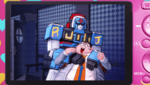 Danganronpa 1 CG - Photo of Hifumi Yamada dragging Robo Justice (English)