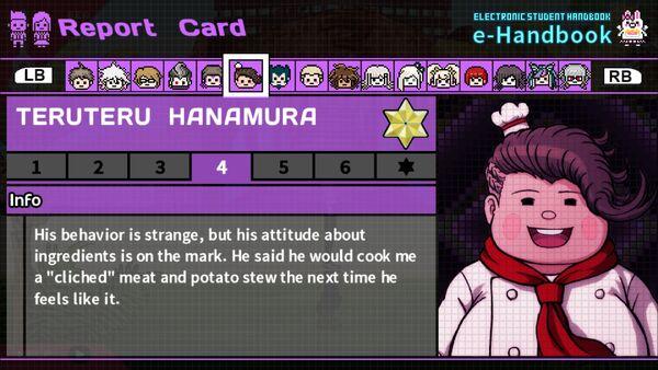 Teruteru Hanamura Report Card Page 4