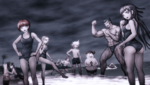 Danganronpa 2 CG - Everyone at the beach (2)