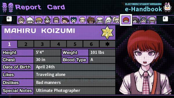 Mahiru Koizumi's Report Card Page 1
