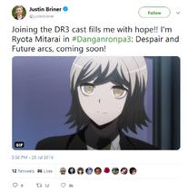 Danganronpa 3 Justin Briner Tweet about Ryota Mitarai Role