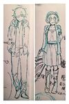 Pencil sketch of Misaki and Takumi in different outfits by Danganronpa Gaiden Killer Killer manga artist Mitomo Sasako