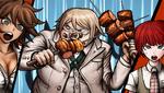 Danganronpa 2 CG - The Imposter eating while Akane and Mahiru watch
